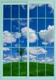 Meadow through the window Royalty Free Stock Photo