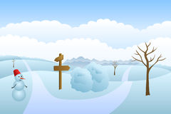 Meadow winter landscape day road way mark illustration Stock Photo