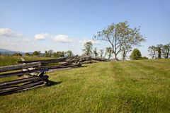Meadow With Split Rail Fence Stock Photography