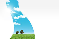 Meadow withh two trees. Meadow with two trees, eco concept, sample your text Stock Image
