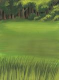 Meadow and wood. A green landscape with meadow, wood and a close up of grass. Hand-made illustration Royalty Free Stock Photos