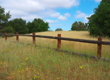 Meadow with wooden fence. Spring time in California, grass turning from green to yellow. Wooden fence and trees. Nice clouds on blue sky Stock Image