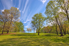 Meadowlark Gardens. Wide-angle cloudy landscape from Meadowlark Gardens in Vienna, Virginia (USA). HDR composite from multiple exposures Stock Photography