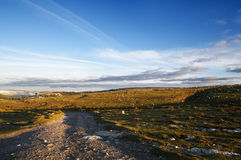 Meadows and blue sky at dawn, Sierra Salvada. Spain Royalty Free Stock Photography