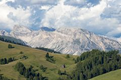 Meadows and Rocks Dolomites Alpe di Siusi, South Tyrol Royalty Free Stock Photos
