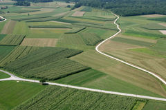 Meadows and fields. Aerial image royalty free stock photography