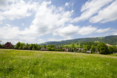 Meadows and fields in the town of Zakopane Stock Photo