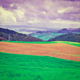 Meadows. Green Sloping Meadows of Tuscany at Sunset, Instagram Effect Royalty Free Stock Images