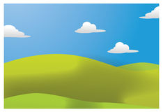 Meadows illustration. Green meadows illustration with sky and clouds Royalty Free Stock Photography