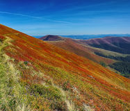 Meadows and mountain range at sunny day Stock Image