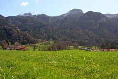 Meadows and mountains around Aschau Royalty Free Stock Images