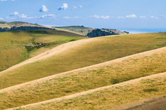 Meadows in the mountains create sinuous lines. Royalty Free Stock Images