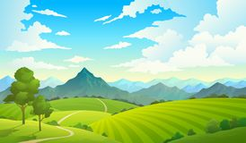 Meadows with mountains. Landscape hill field mountain land sky wild nature grass forest countryside tree. Summer land. Meadows with mountains. Landscape hill stock illustration