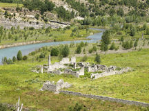 Meadows and ruins landscape in Lleida Royalty Free Stock Image
