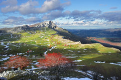 Meadows surrounding by mountains in Gorbea. Basque Country Royalty Free Stock Image