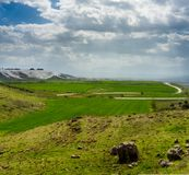 The meadows on the way to Pamukkale. The highway to Pamukkale runs through green meadows in the countryside of Denizli royalty free stock image