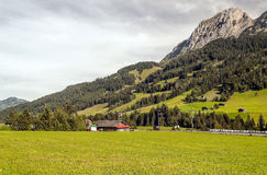 Meadows with wooden houses. In Switzerland. Alpine mountains in the background are on a cloudy day Stock Image