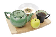 Meal. A meal in the morning with a cup of tea, Apple and yogurt Royalty Free Stock Images