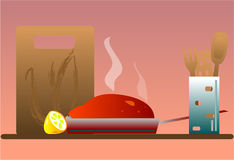 Meal. Illustration still life, celebration meal stock illustration