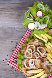 Meal that we all really love. Chicken grilled with fries, onions Stock Image
