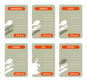 Meal calorie cards Stock Photos