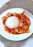 Meal from chicken meat with Indian spices, green and red pepper and rice on white plate, gunny cloth and wood with fork Royalty Free Stock Image