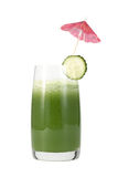 Meal  from a chlorophyll. Glass of cucumber juice and slice of a cucumber on a white background Royalty Free Stock Image
