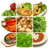 Meal collection. (meat, vegetables, greens, mushrooms, etc.&#x29 Royalty Free Stock Photos