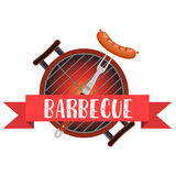 Meal cooked on the grill. Tools for grilling. Barbecue pan with fork. bbq party banner. Vector illustration in flat style Stock Images