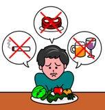Meal of a diet. Men looking sadly her diet menu vector illustration