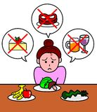 Meal of a diet. Women looking sadly her diet menu royalty free illustration