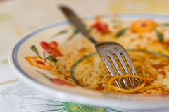 Meal eaten. Extreme close-up of a plate of spaghetti eaten Royalty Free Stock Photos