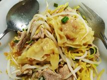 Meal of egg noodle, wonton with pork royalty free stock images