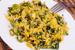 Meal of eggs and onions Royalty Free Stock Images