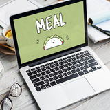 Meal Food Nutrition Sandwich Eating Calories Concept. Meal word and a cartoon is on a laptop screen Royalty Free Stock Photo