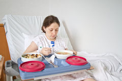 Meal in hospital room Stock Images