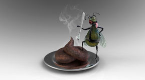 Meal hunter. Cartoonish housefly as a meal hunter with his trophy Royalty Free Stock Photos