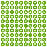 100 meal icons hexagon green. 100 meal icons set in green hexagon isolated vector illustration Royalty Free Stock Images