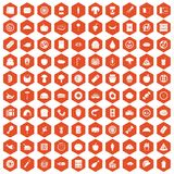 100 meal icons hexagon orange. 100 meal icons set in orange hexagon isolated vector illustration Stock Photo