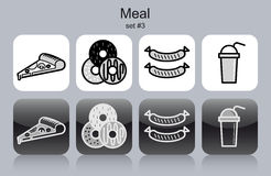Meal icons Royalty Free Stock Image