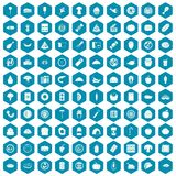 100 meal icons sapphirine violet. 100 meal icons set in sapphirine hexagon isolated vector illustration Royalty Free Stock Photos