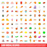 100 meal icons set, cartoon style. 100 meal icons set in cartoon style for any design vector illustration Royalty Free Stock Image