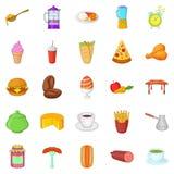 Meal icons set, cartoon style Royalty Free Stock Photos