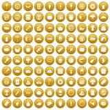 100 meal icons set gold. 100 meal icons set in gold circle isolated on white vectr illustration Royalty Free Stock Photos