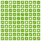 100 meal icons set grunge green. 100 meal icons set in grunge style green color isolated on white background vector illustration Stock Image