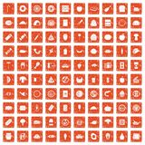 100 meal icons set grunge orange. 100 meal icons set in grunge style orange color isolated on white background vector illustration Stock Photos