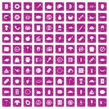 100 meal icons set grunge pink. 100 meal icons set in grunge style pink color isolated on white background vector illustration Royalty Free Stock Image