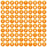 100 meal icons set orange. 100 meal icons set in orange circle isolated vector illustration Royalty Free Stock Photography