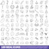 100 meal icons set, outline style Royalty Free Stock Image