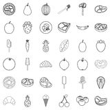 Meal icons set, outline style. Meal icons set. Outline style of 36 meal vector icons for web isolated on white background Royalty Free Stock Photo